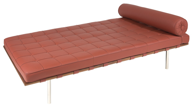 'Mies van der Rohe Red Leather and Polished Steel Barcelona Daybed', Design/Decorative Art, Doyle