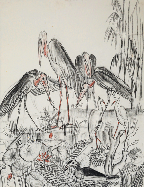 , 'Leptoptilos, Grey Herons and Great Hornbill,' 1948-1958, Galerie Dumonteil