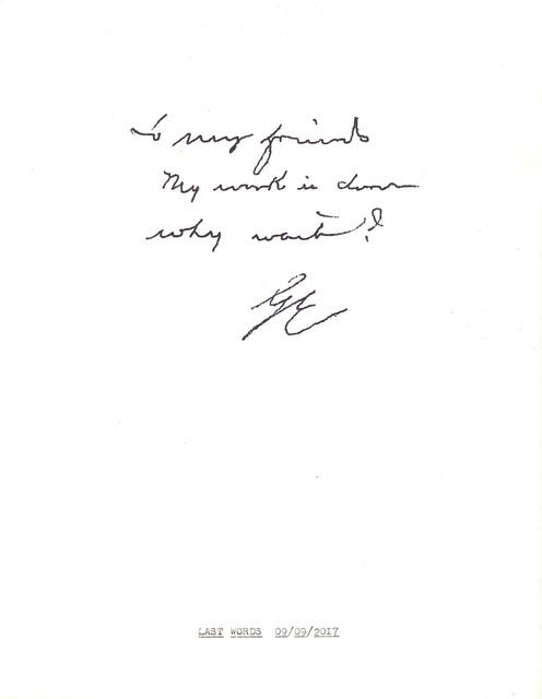""", '""""Last Words"""" in the series """"Typewriter Drawings"""",' 2017, Catharine Clark Gallery"""