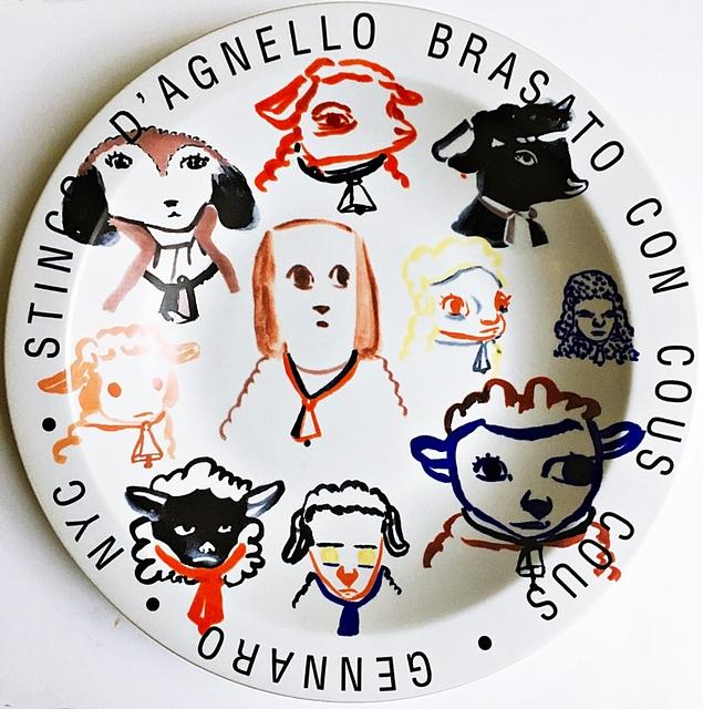 Amy Sillman, 'Stinco D'Agnello Brasato Con Cous Cous - Gennaro - New York City', 2001, Design/Decorative Art, Ceramic Plate. Artist Signature Fired into Plate., Alpha 137 Gallery
