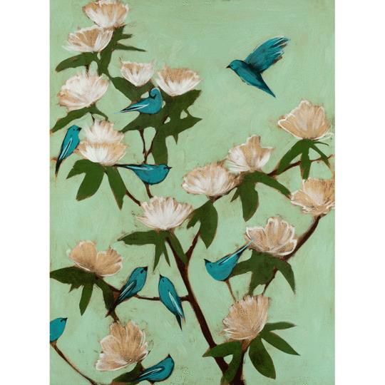 Joseph Bradley, 'Blue Birds and Magnolias', 2019, Painting, Mixed Media, Shain Gallery