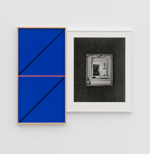 , 'Riffs on Real Time with Ground (Mirror Blue with Black Diagonal and Horizon Daybreak),' 2018, Perrotin