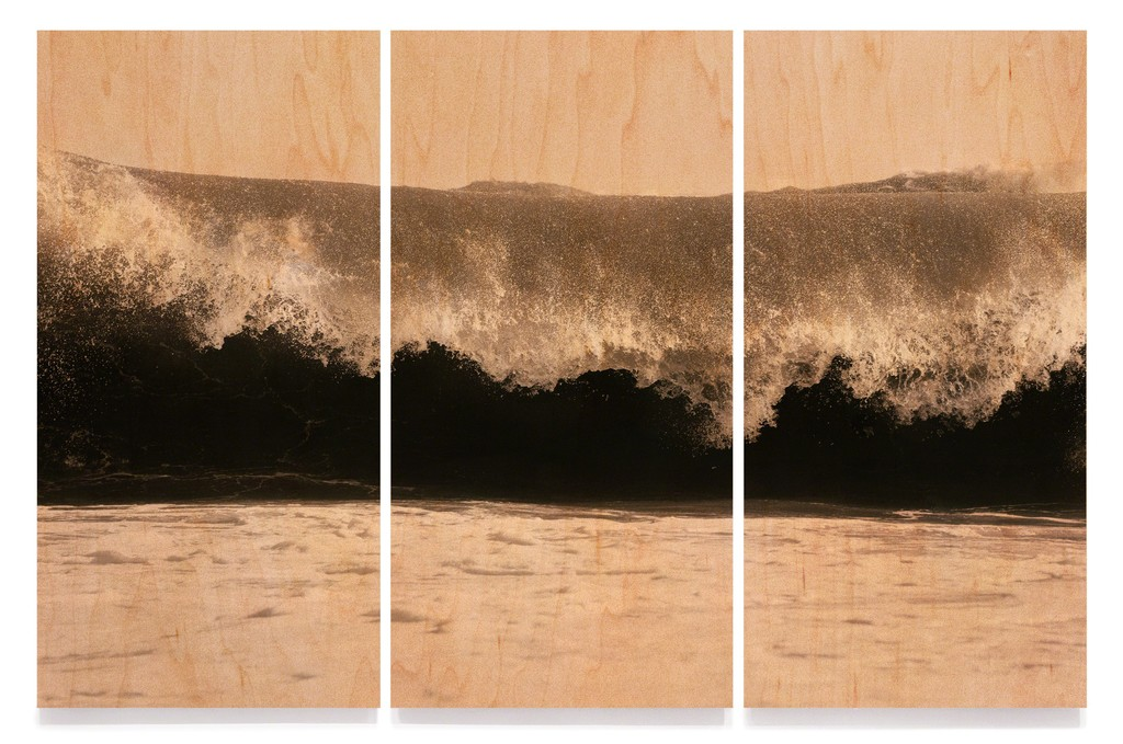 "Clifford Ross: Wave XLIX (Wood), triptych, 2017. Cured inkjet print on wood. 148 x 225"". Courtesy Ryan Lee Gallery, New York and Sonnabend Gallery, New York"