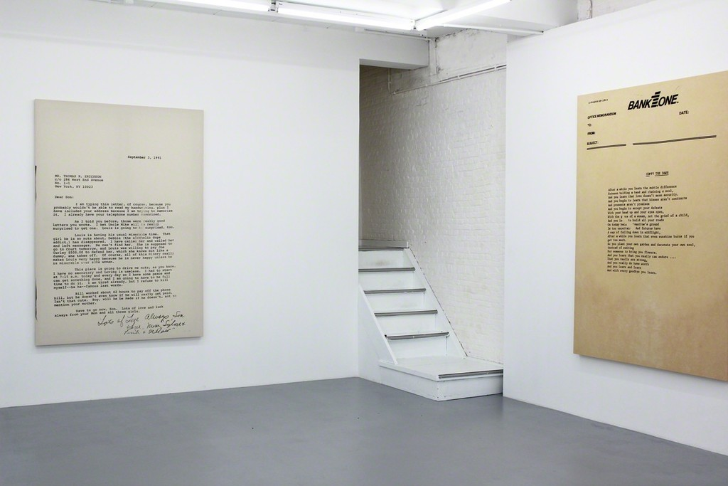 "Installation view at Harlan Levey Projects - ""September 3rd, 1991"", 2015, graphite, resin, funerary ash, on muslin, 214 x 152 cm, ""Comes the Dawn"", 2015, graphite, resin, funerary ash, on dyed Muslin, 214 x 152 cm"