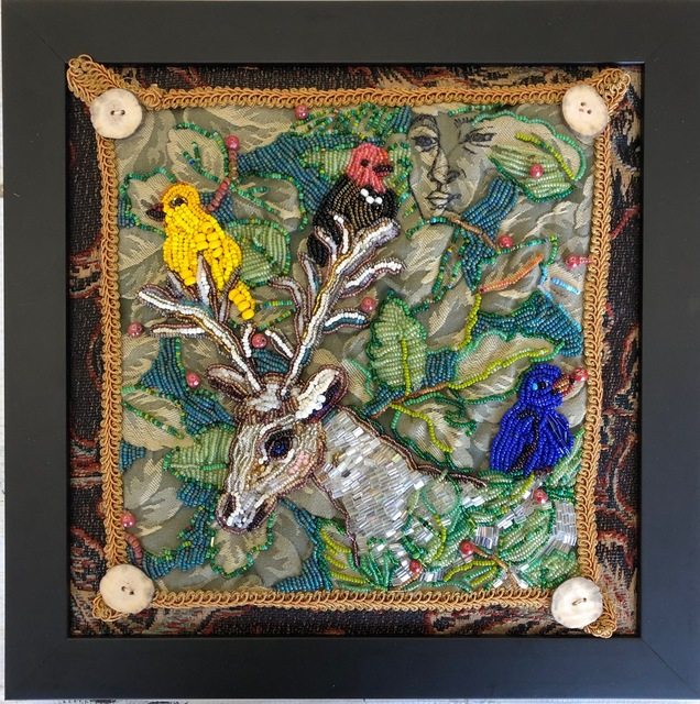 Mary Josephson, 'Between Two Worlds', 2019, Textile Arts, Glass beads, embroidery on tapestry, framed, Friesen Gallery
