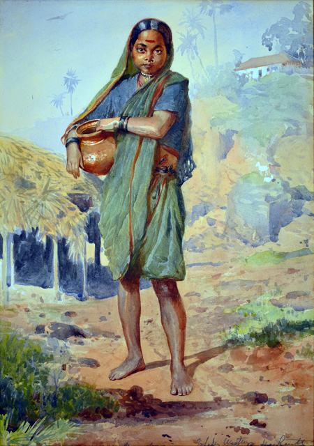 , 'An Indian girl carrying a water vessel, Bombay,' , Swaraj Art Archive