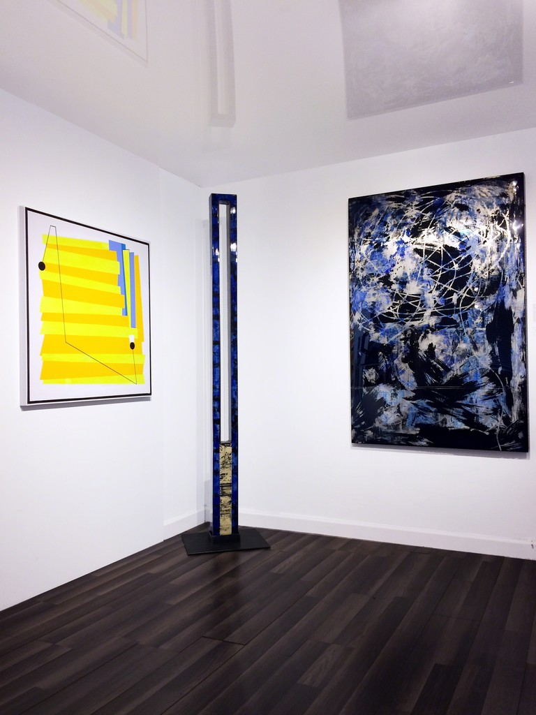 Works by Luis Cruz Azaceta (L) and Jorge Enrique (R & Ctr) on view at Waltman Ortega Fine Art