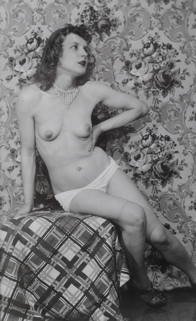, 'Untitled (Marie with white panties seated on plaid draped chair),' ca. 1940, Adams and Ollman