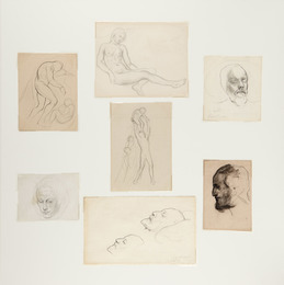 Group of seven drawings framed together