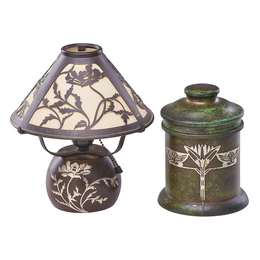 Sterling-On-Bronze Boudoir Lamp With Poppies And Humidor, USA