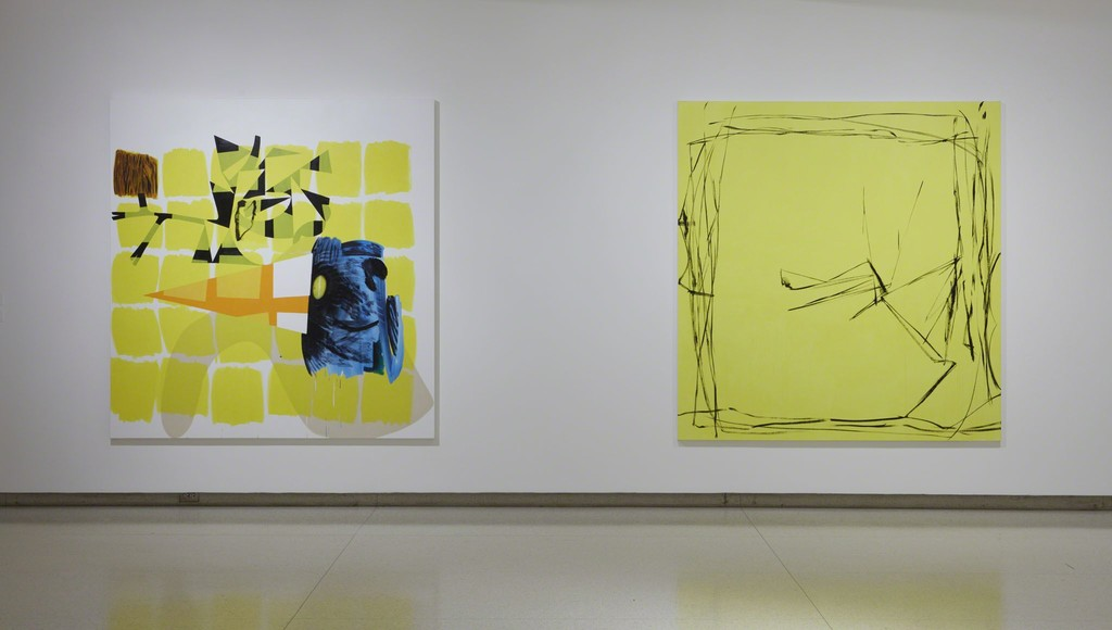 View of the exhibition Less Than One, 2016; (left to right): Charline von Heyl, Children's Encyclopedia, 2014; Charline von Heyl, Bois-Tu De La Bier?, 2012