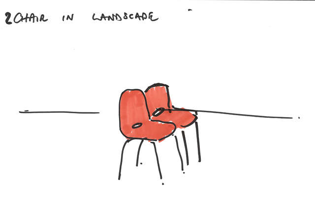 , '2 CHAIRS - Erdkunde Working drawing,' 2015, Carroll / Fletcher