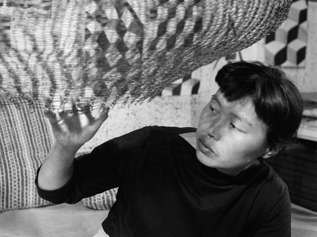 , 'Asawa in her studio in 1957,' , David Zwirner