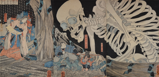 , 'Takiyasha and Skeleton Spectre in the Ruined Palace at Soma,' ca. 1844, Ronin Gallery