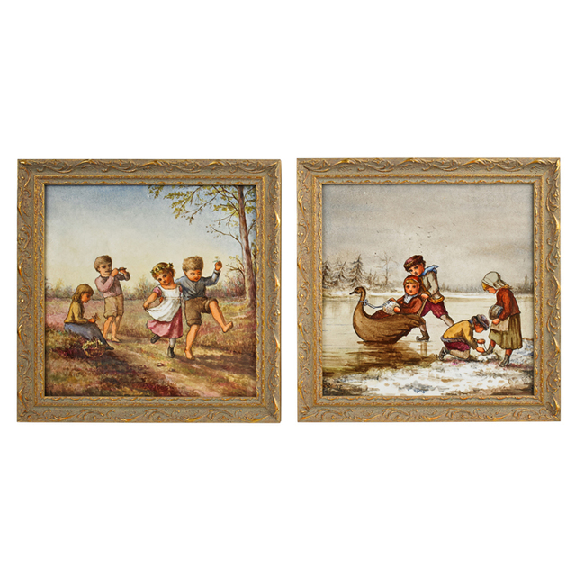 Linnie Watt, 'Two Tiles With Scenes Of Children At Play In Winter And Summer (Framed), England', ca. 1900, Rago/Wright