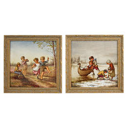 Two Tiles With Scenes Of Children At Play In Winter And Summer (Framed), England