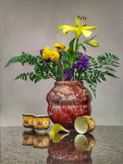Gale Myers, 'Lily Bouquet with Tea Cups', 2020, Photography, Photo printed on archival velvet paper, Springfield Art Association