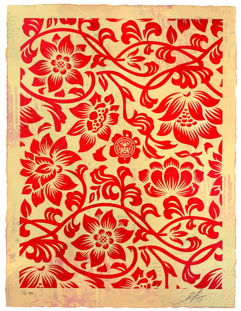 Shepard Fairey (OBEY), 'Floral Takeover (Red/Cream)', 2017, Underdogs Gallery