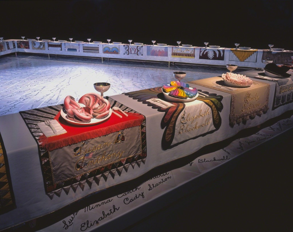 an analysis of the dinner party by judy chicago Judy chicago, the dinner party, 1979 theme: gender the dinner party is a piece of art work that represents significant women in history and their heritage.