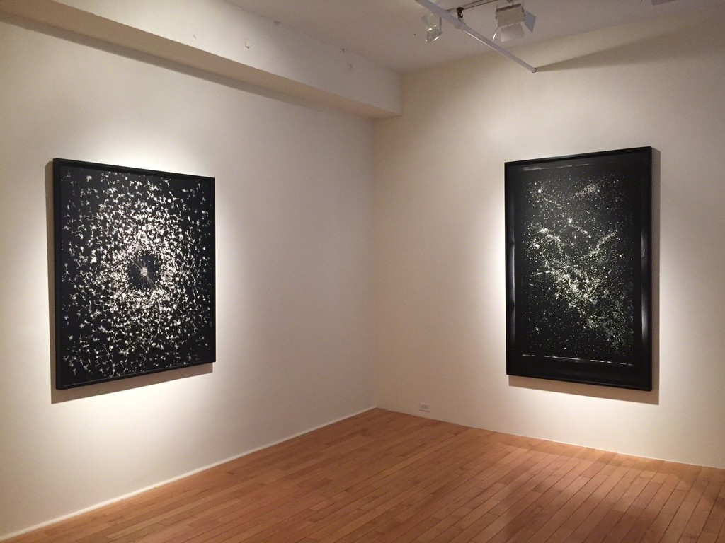 At left, Tether; at right, Night and Day; both inkjet prints, 2016.