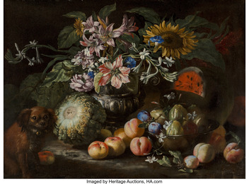 A still life of fruit and flowers in a footed gadrooned silver vase with a spaniel looking on