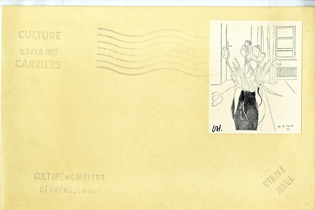 """David Hockney, 'TULIPS from """"CULTURE CARRIERS STAMP OUT ART"""" (SIGNED) from the Collection of Art Critic Anthony Haden-Guest', 1971, Alpha 137 Gallery"""