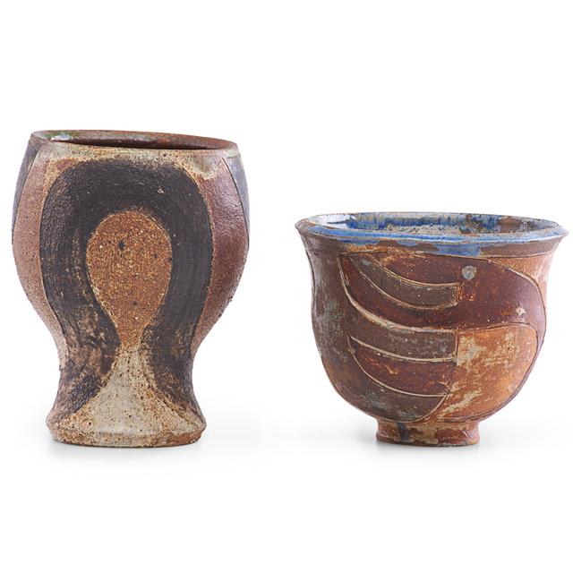 Marguerite Wildenhain, 'Two small vases, Guerneville, CA', Design/Decorative Art, Glazed and incised stoneware, Rago/Wright