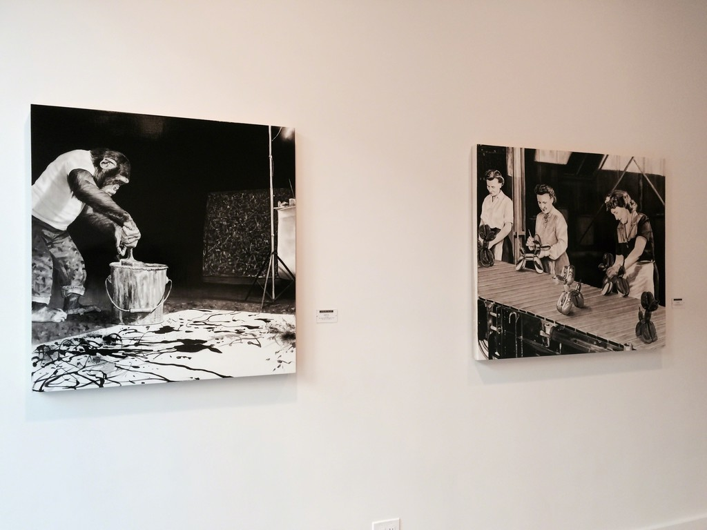 """The Forgery"" 2014 (left), ""The Creative Process"" 2014 (right), black oil and white gesso on wood panel"