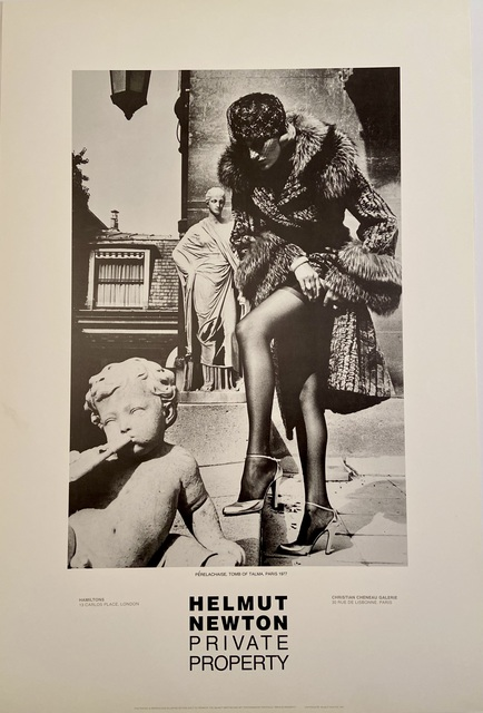 "Helmut Newton, 'Rare Limited Helmut Newton ""Private Property"" Gallery Lithographic Poster (features the photo '""PERELACHAISE TOMB OF TALMA. PARIS, 1977"")', 1985, Posters, High Quality Lithographic Gallery Exhibition Poster, David Lawrence Gallery"