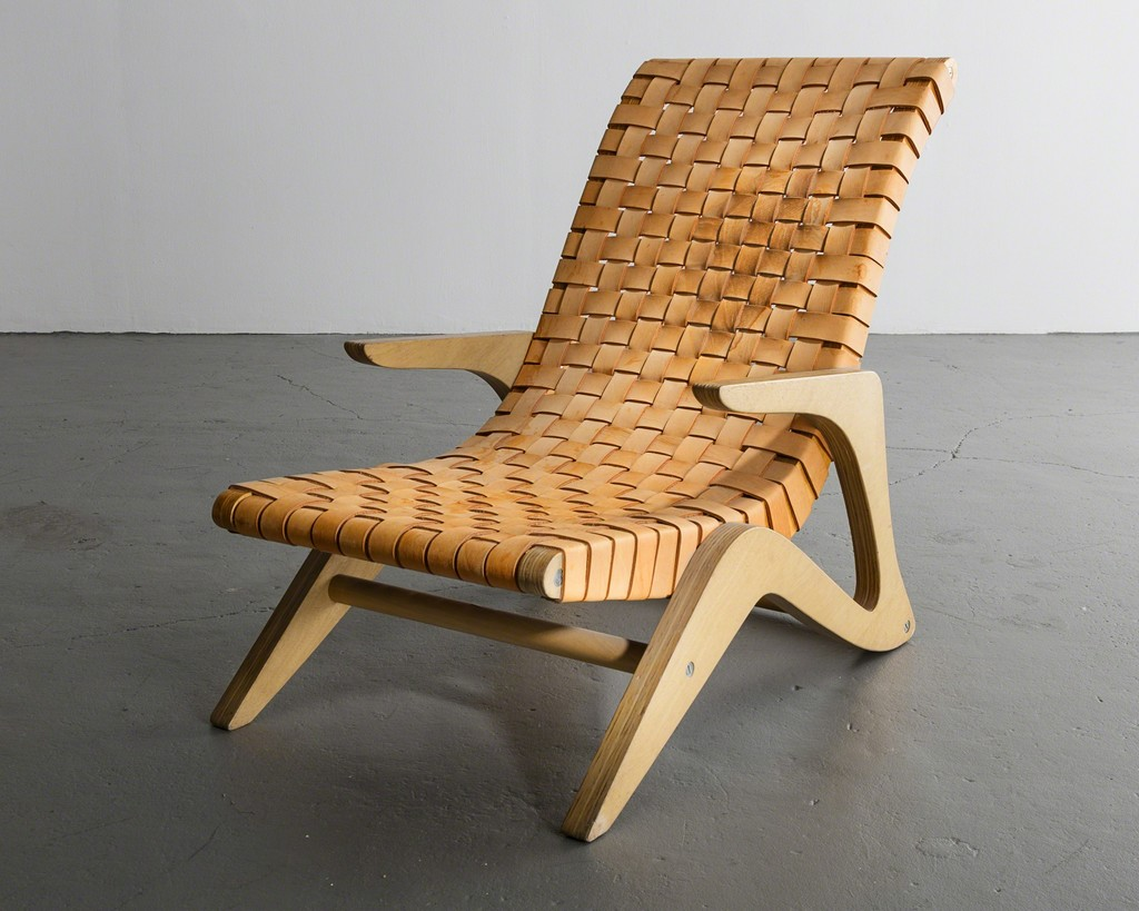 Chaise lounge with webbed leather seat