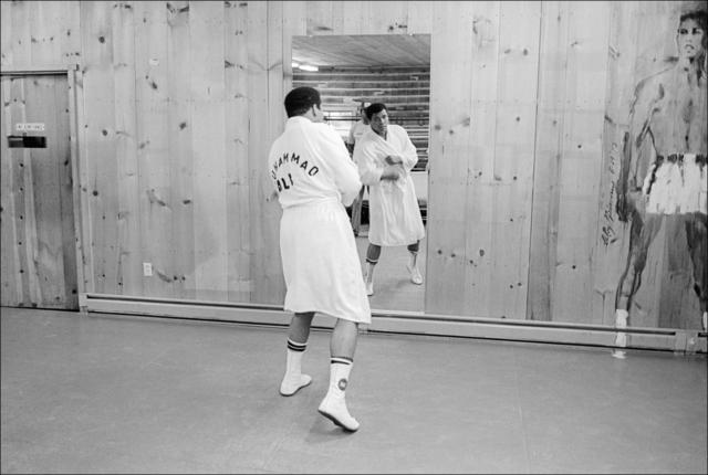 Allan Tannenbaum, 'Muhammed Ali shadow boxes at Deer Lake, PA, training camp', 1977, Madelyn Jordon Fine Art