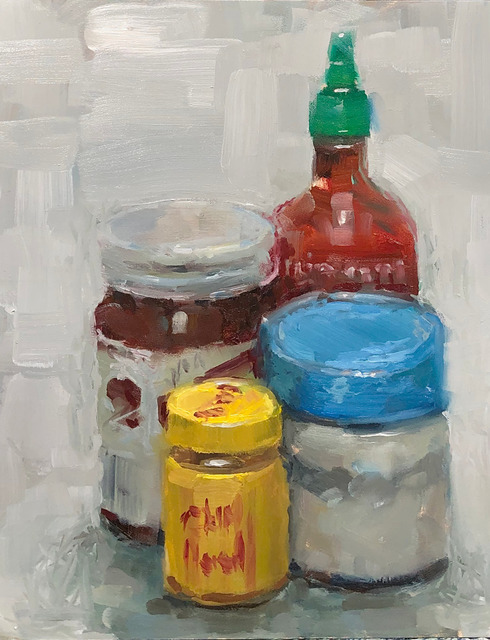 Tom Giesler, 'Still life with two sauces', 2020, Painting, Oil on panel, McVarish Gallery