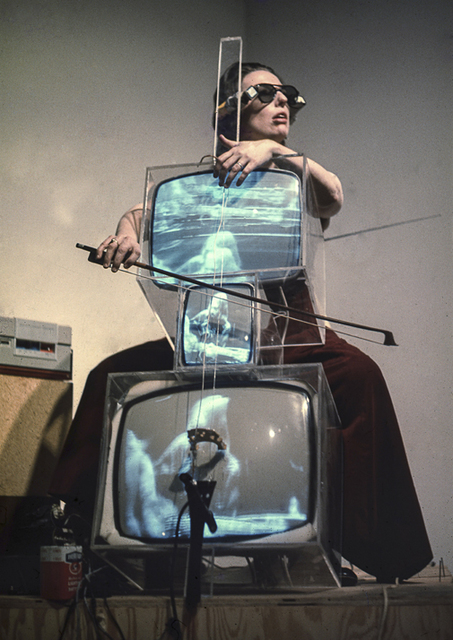 , 'Charlotte Moorman performing on Nam June Paik's TV Cello wearing TV Glasses, Bonino Gallery, New York City,' 1971, Grey Art Gallery