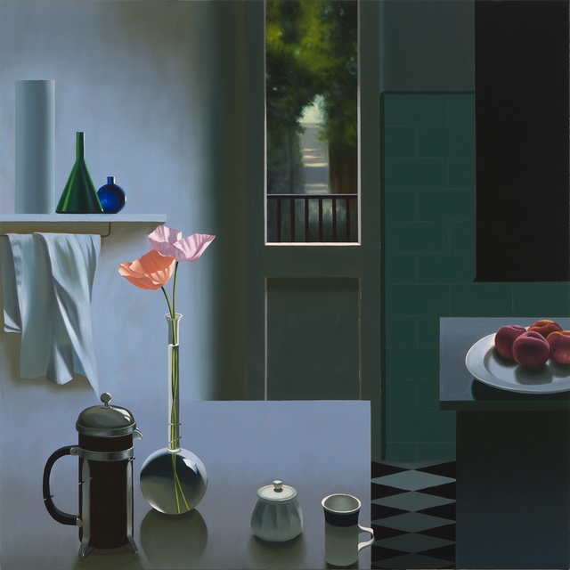 , 'Interior with Coffee Pot and Poppies,' 2017, Leslie Sacks Gallery