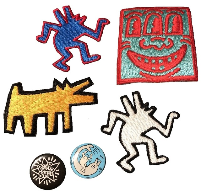 Keith Haring, 'POP SHOP COLLECTION- Patches, Pins, and Puffy Magnets, 1980's, RARE', 1980's, Mixed Media, Plastic, cloth, VINCE fine arts/ephemera