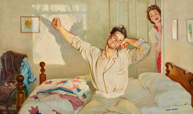 John Philip Falter, 'Waking Up', Mid 20th Century, Painting, Oil on Canvas, The Illustrated Gallery