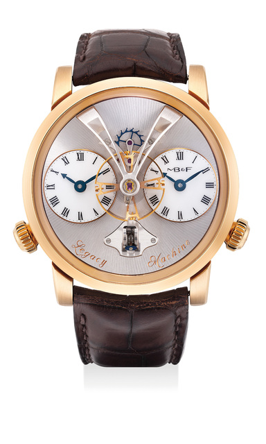 MB & F, 'A fine and attractive pink gold three-dimensional dual time wristwatch with flying balance wheel, vertical power reserve indicator, international warranty and fitted presentation box', Circa 2013, Phillips
