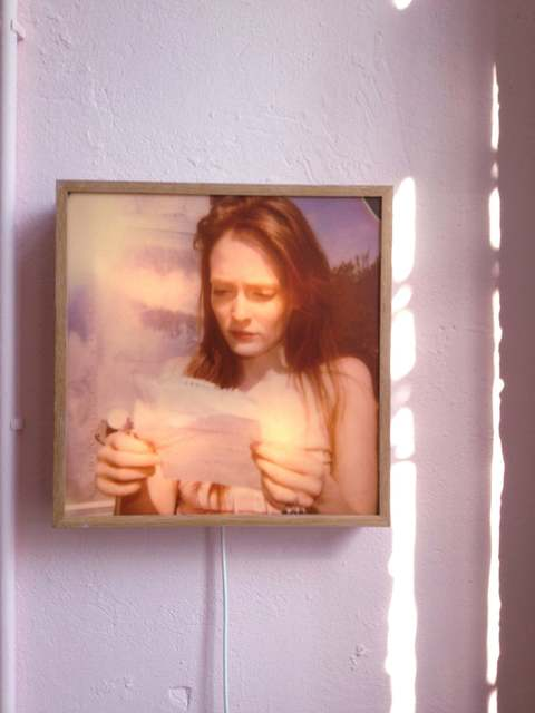 Stefanie Schneider, ''Lonely Hearts Room' lightbox: 'Margarita's Letter'', 2008, Installation, Matte slight in oak frame, based on a Polaroid with mp3 player - Daisy reads 'Margarita's letter', Instantdreams