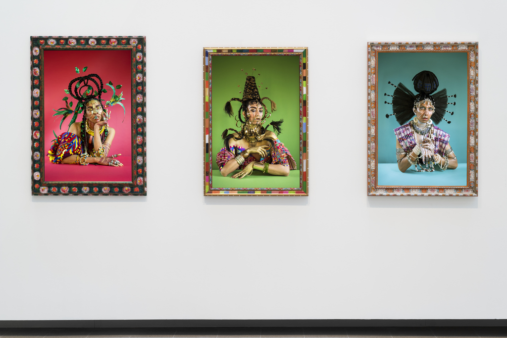 Installation view of Martine Gutierrez, Indigenous Woman (2018), in Kiss My Genders, Hayward Gallery. Copyright the artist, courtesy RYAN LEE Gallery, New York. Photo: Thierry Bal.