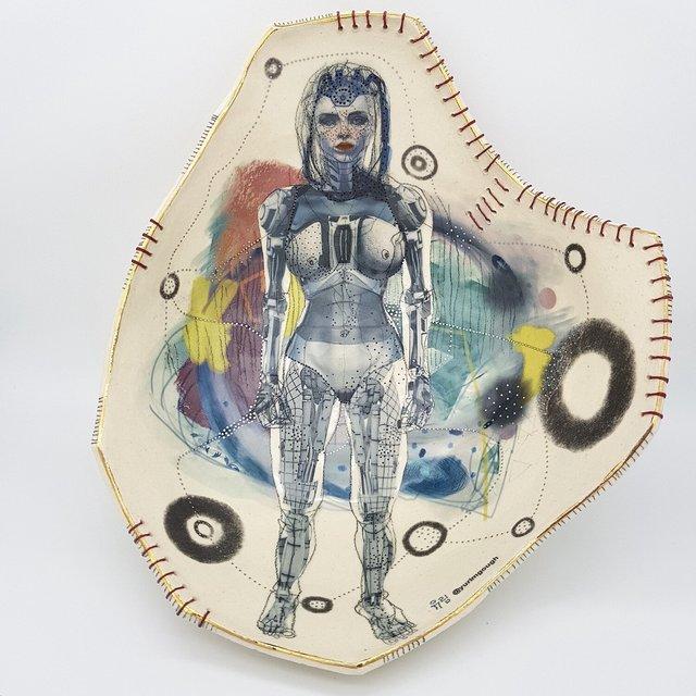 Yurim Gough, 'Ok GOOGLE', 2020, Sculpture, Life drawing on stoneware with ceramic pencil, transfers, gold, thread, Paradigm Gallery + Studio