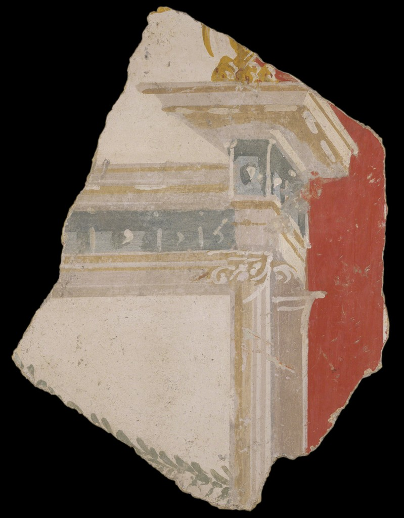Fragment of a Wall Painting, Roman, ca. 50 b.c.–a.d. 79. Paint on plaster. Yale University Art Gallery, Gift of Molly and Walter Bareiss, b.s. 1940s