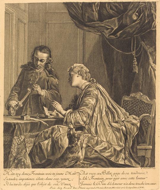 Etienne Fessard after Jean Siméon Chardin, 'Dame cachetant une lettre (Lady Sealing a Letter)', 1738, Print, Engraving, National Gallery of Art, Washington, D.C.
