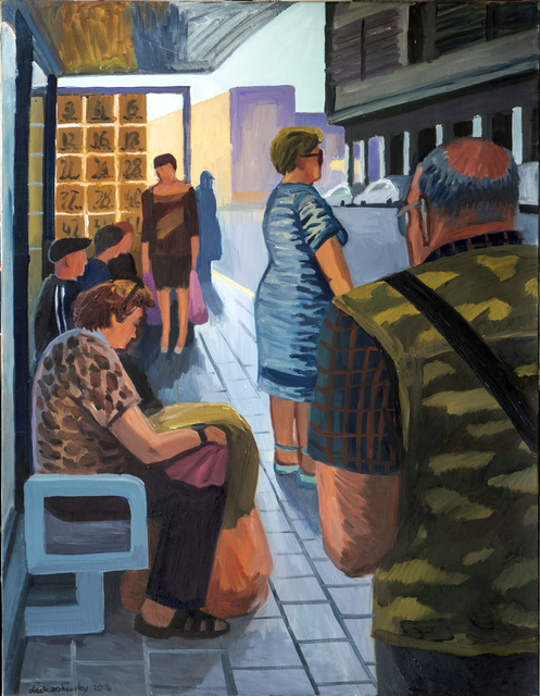 Anna Lukashevsky, 'Bus Stop', 2016, Painting, Oil on canvas, Rosenfeld Gallery