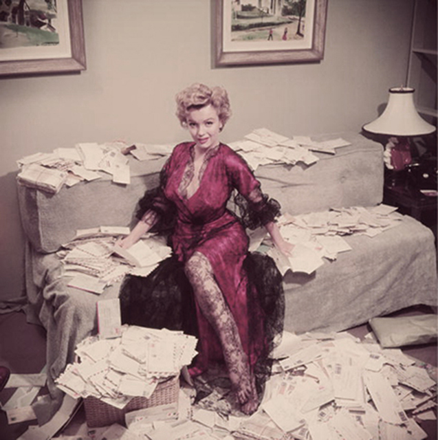 ", 'Fan Mail, 1952: Marilyn Monroe sorts out her fan mail shortly after her film ""The Asphalt Jungle"" had been released, Beverly Hills,' 1952, Staley-Wise Gallery"
