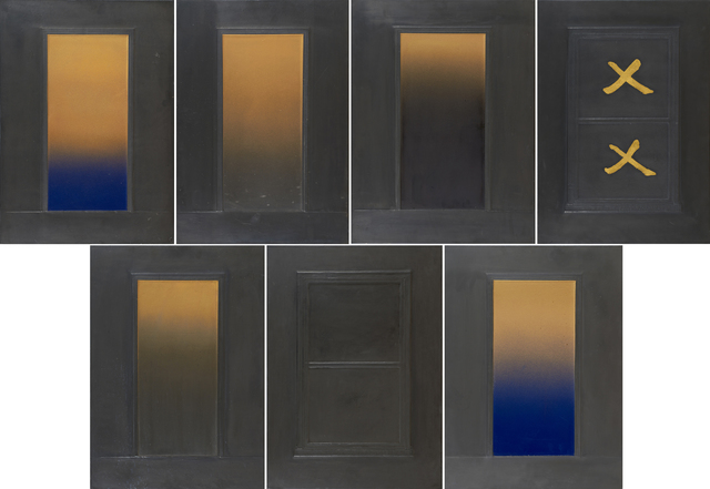 Eric Orr (1939-1998), 'Untitled', 1979, Sculpture, Set of seven embossed lead reliefs over wood backings, Rago/Wright