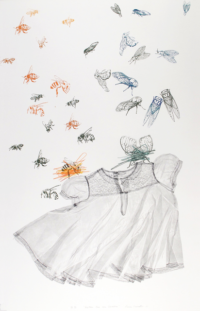 Luca Cruzat, 'Neither Bee Nor Cicada', 2017, Print, Collagraph, screenprint, pencil on arches paper, Karin Weber Gallery