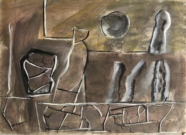 Mario Sironi, 'Composition with bottles', metà Anni '50, Finarte