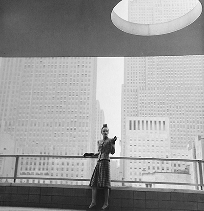 , 'Rita Touhy on Balcony of the MoMA,' 1940, Staley-Wise Gallery