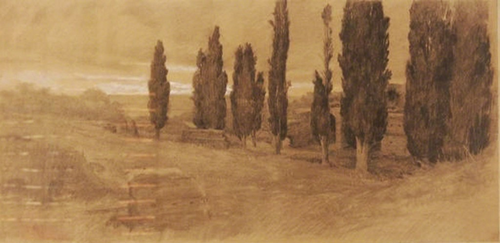 Giuseppe Pelizza da Volpedo 'Landscape', signed and dated 1902, mixed media, 67x30