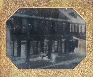 Group of three daguerreotypes of buildings